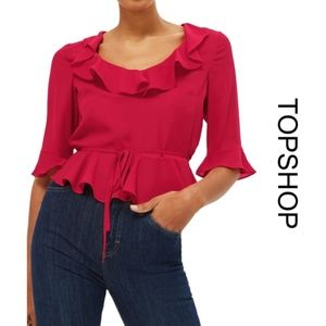 [topshop] Phoebe Frilly Top in Red US 6
